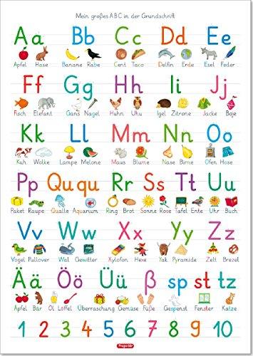Fragenbär-Lernposter: Mein großes ABC in der Grundschrift (GS), L 70 x 100 cm (Lerne mehr mit Fragenbär)