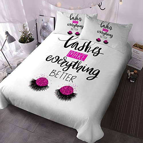BlessLiving Beauty Eyelash Bedding Closed Eyes Cute Pattern Quilt Cover Set 3 Piece Funny Lash Extensions Duvet Cover for Fashion Girls (Glitter Rose Pink,Queen)