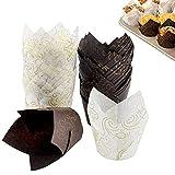 100 moldes de papel para magdalenas, diseño de tulipanes, color marrón y blanco