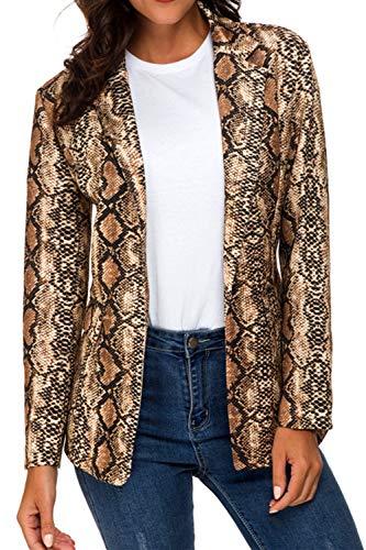Dazosue Mujer Chaqueta Blazer con Estampado De Serpiente Abrigo Casual Solapa con Bolsillos