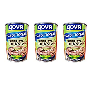 Goya Fat Free & Vegan Traditional Refried Beans  3 Pack Total of 48oz