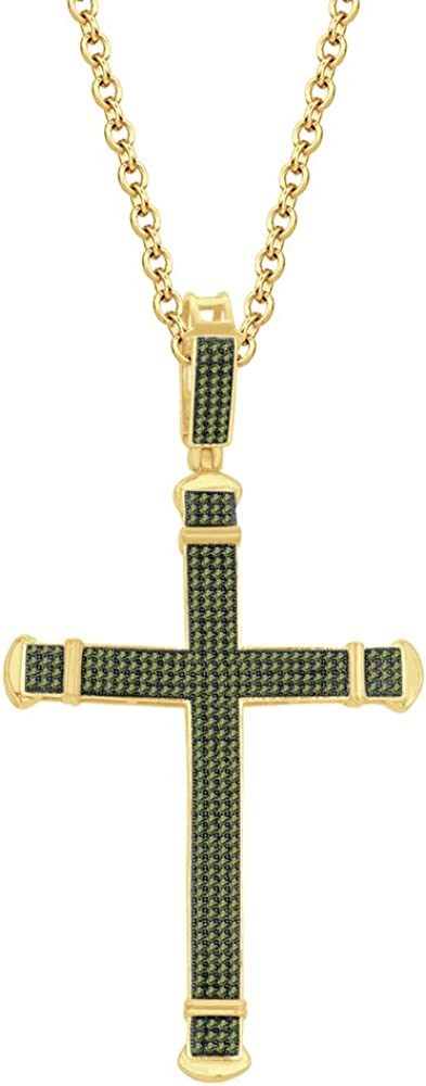 HN Jewels 14K Yellow Gold Plated Silver 1.25 Ct Round D//VVS1 Diamond Religious Cross Pendant 18 Chain