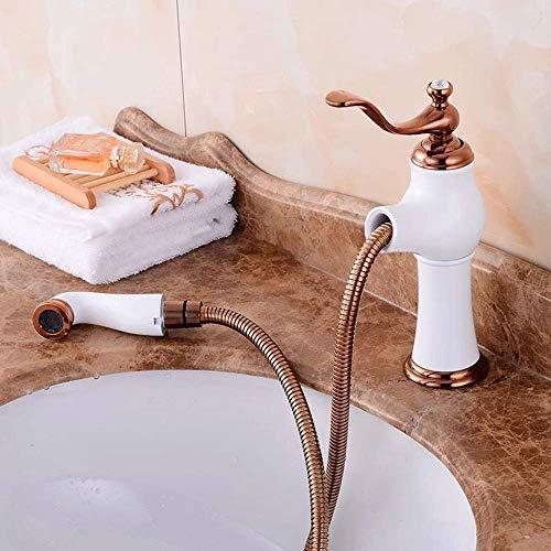 HYY-YY - Miscelatore classico per cucina e bagno, in rame, colore: Bianco