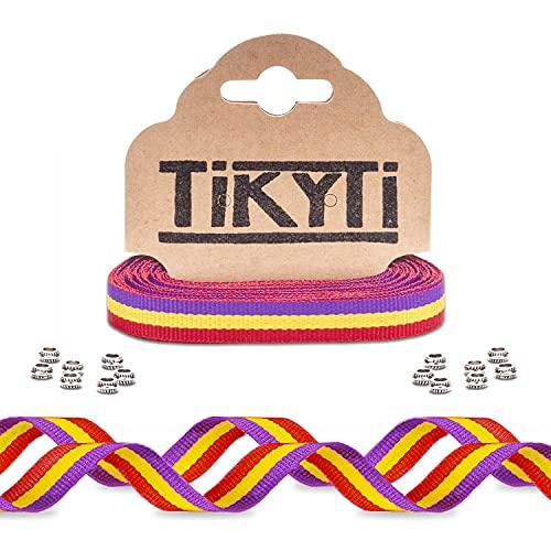 Cinta 5 metros bandera republicana – para pulseras, manualidades, decoración - incluye 15 cuentas cierre - Lazo República España 5Mx1CM