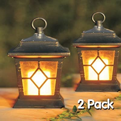 2pc Solar Flickering Candle Coach Lantern Outdoor