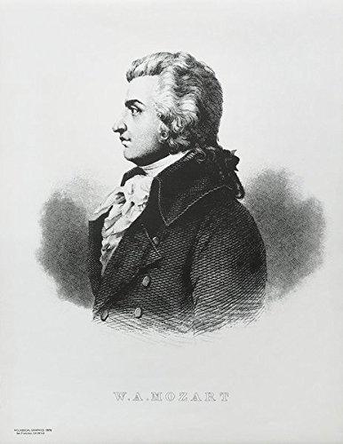 Wolfgang Amadeus Mozart: Schwarzweißdruck des Gemäldes von Joseph Lange aus der Zeit 1782/1783 (Poster und Bildtafeln)