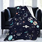 SARA NELL Space Weighted Blanket For Kids,Milky Way Solar System Space Adventure Planet Rocket Galaxy Starry Sky Constellation Fleece Flannel Blanket,Ultra Soft Fluffy Bed Blanket Throw For Sofa Couch