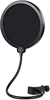 InnoGear Upgraded Microphone Pop Filter Mask Shield, Dual Layered Wind Pop Screen with Flexible 360� Gooseneck Clip Stabilizing Arm for Awesome Premium Recordings, Broadcasting, Streaming, Singing