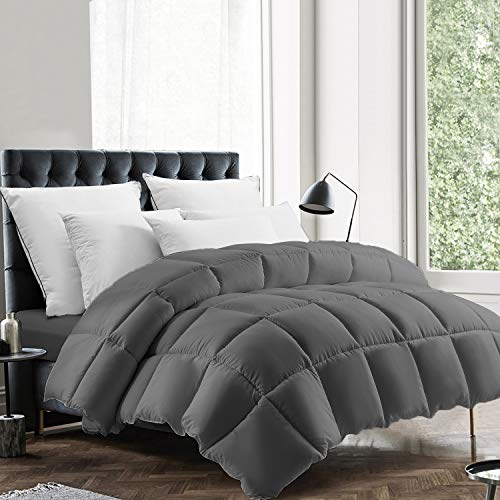 EDUJIN All Season Queen Size Comforter, Soft Quilted Down Alternative Comforter Hotel Luxury Collection Reversible Duvet Insert with Corner Tabs, Fluffy & Hypoallergenic, Grey, 88 x 92 inches