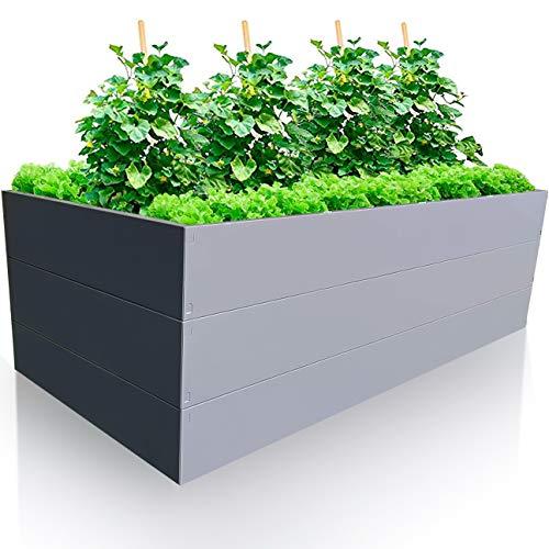 Gartendek Aiuola Rialzata da Giardino da Metal – 200x100x63cm Letti Rialzati di Alta qualità – Orto Urbano di Metallo Galvanizzato – Ideale per la Сoltivazione da Verdure, Frutta e Piante