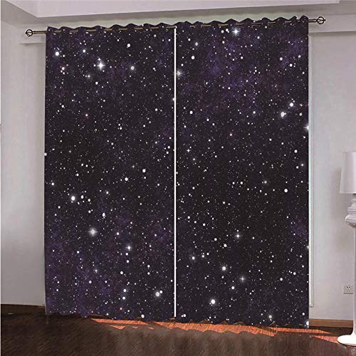 QHDHGR Blackout Curtains Eyelets Purple & Starry Sky Thermal Insulated Bedroom Curtains Ring Top Solid Curtains Kidsroom Window Treatments 2 Panels size: 2 x W29.5 x H63 Inch
