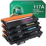 GREENSKY 117A (con Chips) Cartuchos de Tóner, Compatibles HP 117A para HP Color Laser 150a 150w 150nw MFP 178nw 179fnw 178nwg 179fwg, W2070A W2071A W2072A W2073A(Negro Cian Amarillo Magenta/pack de 4)