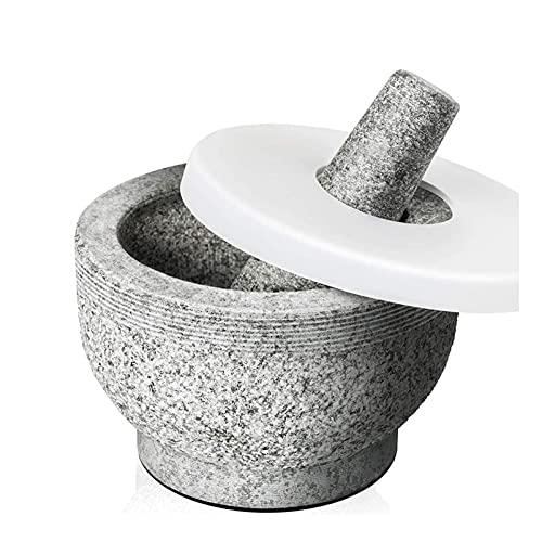 XTZJ El mortero y la maja con tapa de 2 tazas incluyen la tapa de silicona, el pelador de ajo, la almohadilla antideslizante de Stick-On para la base, el mortero de granito sin pulido y la molina de e