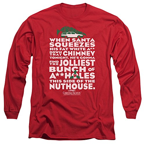 Christmas Vacation Jolliest Bunch Unisex Adult Long-Sleeve T Shirt for Men and Women Red