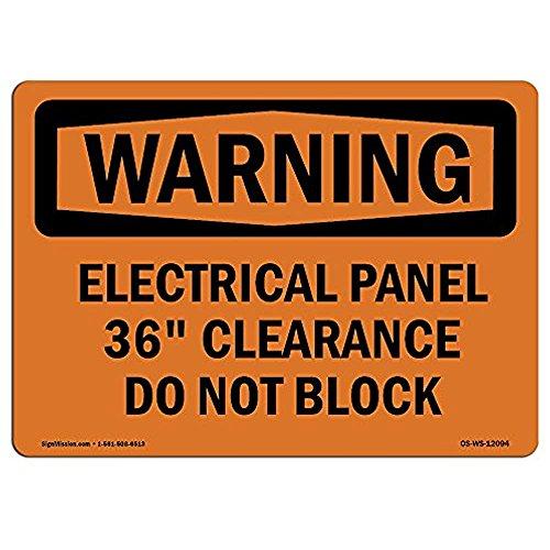 Ditooms waarschuwingsbord elektrisch paneel 36 niet blokkeren aluminium stijve plastic of Vinyl Label Decal aluminium metalen tin 12