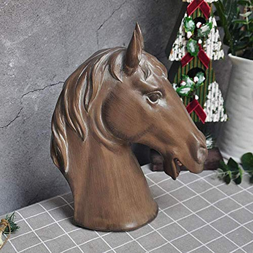 DNSJB Garden Ornaments Vintage Imitation Wood Horse Head Waterproof Resin Garden Statue for Yard Landscape Lawn Decoration Crafts Gift - 24 * 12 * 32cm