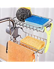 CRAZYDEALS+ Sink Caddy Sponge Holder for Kitchen Bathroom Accessories, Double Layer Stainless Steel Faucet Storage Rack Kitchen Organizer for Soap, Sponge and Brush etc.