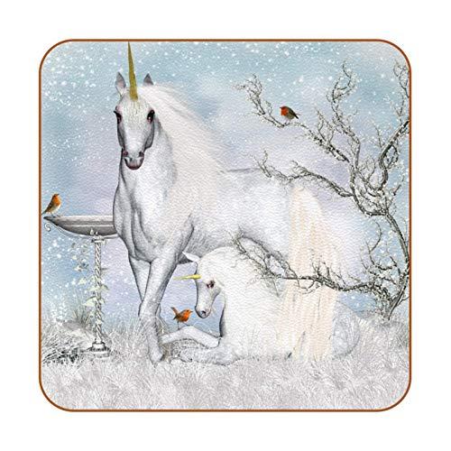 Fairytale Winter Einhorn & Vogel PU Leder Untersetzer für Getränke, 6 Stück quadratische Getränkeuntersetzer Tassen Platzsets für Zuhause oder Bar, Einweihungsgeschenk