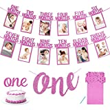 APERIL Primo Compleanno Fotografico Bandiera per Neonato a 12 Mesi,mensile Fotografia Ghirlanda di Stamina, One Striscione, One Cake Topper per Decorazione del Primo Compleanno-Rosa