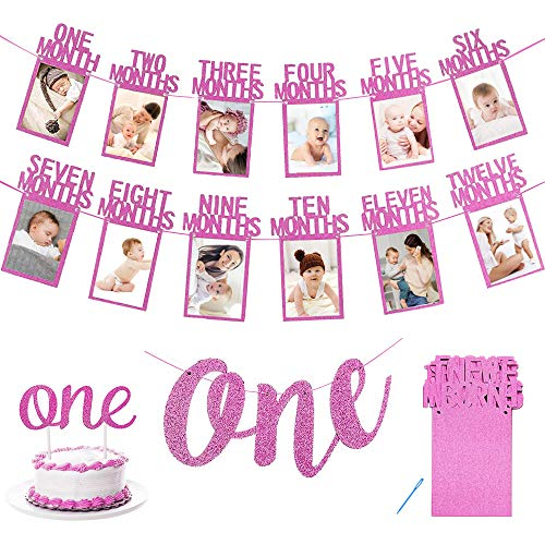 APERIL First Birthday Decoration, 1st Birthday Photo Banner for Newborn to 12 Months, Monthly Photograph Bunting Garland, One Banner, One Cake Topper for Party Baby Shower-Pink