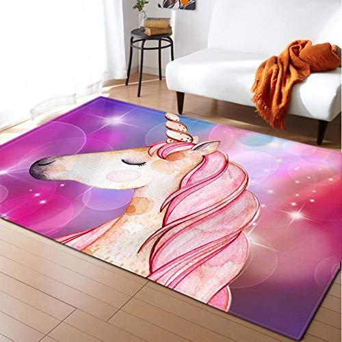 LLAAIT Einhorn 3D-Gedruckter Teppich Cartoon Kinderzimmer Spielmatte Weicher Flanell Memory Foam Mädchen Raum Teppich und Teppiche für Wohnzimmer, 5.120x180cm
