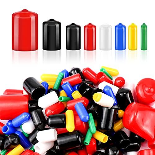 Selftek Tapas flexibles para tornillos, 170 unidades, para tornillos, tijeras y bicicletas (negro, rojo, blanco, amarillo, azul, verde)