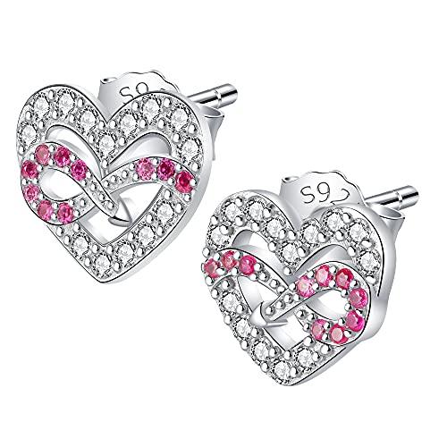 JENDEAR Pendientes Corazón Mujer con Infinito Plata de Ley 925 Circonio Cúbico Rojo Hipoalergénico Regalo para Mujer