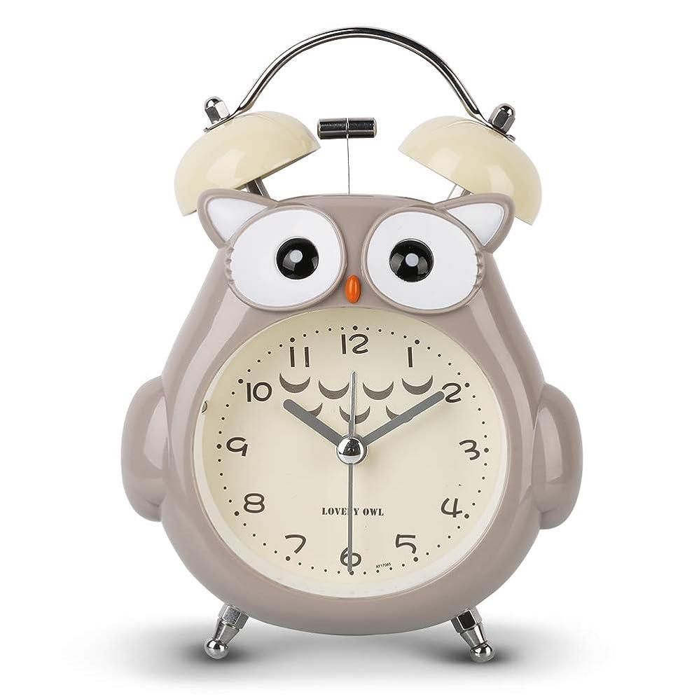 促すカスタムルーMoonya めざまし時計 ツインベル 連続秒針 大音量 約70デシベル ライト付き かわいい フクロウ 置き時計 こども 新学期のプレゼント