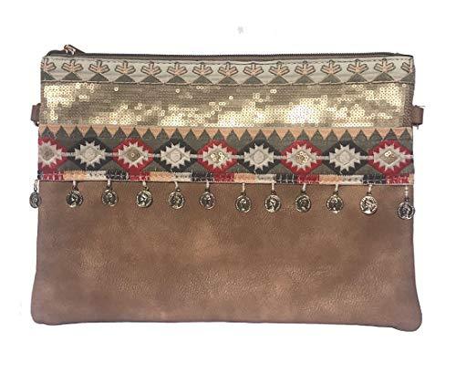 NOVAGO Pochette à Maquillage, Pochette multiusage,Pochette pour Tablette iPad avec bandoulière et décoration Fait Main (Camel)
