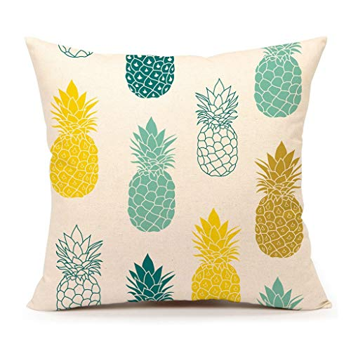 "Pineapples Throw Pillow Cover Summer Beach Decor Cushion Case Decorative for Sofa Couch 18"" x 18"" Inch Cotton Linen(Blue Yellow )"