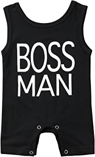 Newborn Baby Boys Sleeveless Boss Man Print Romper Jumpsuit Playsuit Outfits