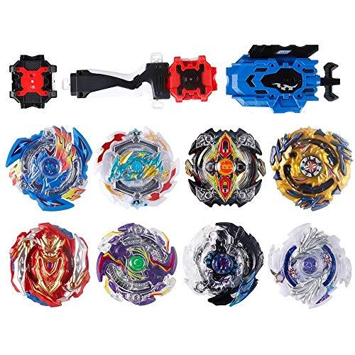 infinitoo 8 Stück Kampfkreisel Set 4D Fusion Modell Battling Tops Mit 3 Beschleunigungslauncher Speed Kreisel Tolles Spielzeug Geschenk Für Kinder, 8pcs+3 Launchers