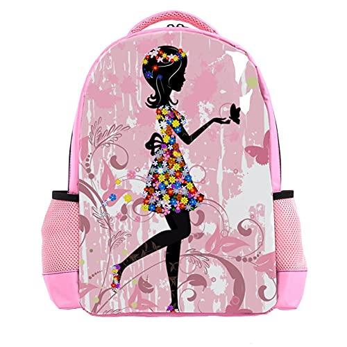 Mochila para niños con diseño de mariposas, diseño de hadas, color rosa, para niños y niñas