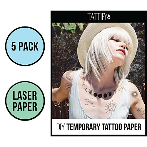 Tattify DIY Temporary Tattoo Paper 5 Sheet Pack For Laser Printers, Printable Long Lasting Custom Tattoos At Home, Sticker Transfer Sheets With Clear Instructions, Waterproof And Sweat Resistant