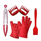 BBQ Master Heat Resistant Silicone Cooking Handschuhe & Meat Claws Combo Set-Safe Protective Insulated Cloth Lining Kitchen Gelenke Mitts für das Backen Handling Hot Pots & Pans-Lift Pull Shred Beef