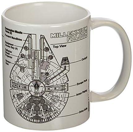 Star Wars Millennium Falcon Sketch Unisex Taza Blanco, cerámica, 0,3 l