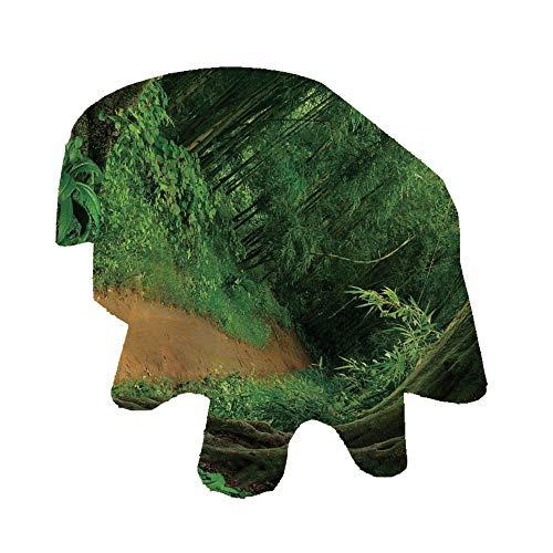 Angel Bags Jungle Decor Mantel ovalado, Camino en el Bosque, Tailandia, Fresh Calm Nature Park Meditación Senderismo Cuadro de poliéster, 150 x 200 cm, para Comedores y Cocinas Verde