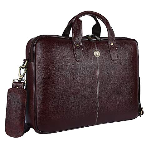 HAMMONDS FLYCATCHER Men's Original Bombay Leather Padded Laptop Compartment Office Bag Laptop Messenger Bag (L=15.6, B=3.75, H=10.75 inch, Brown, 15.6 inch ) LB106BR