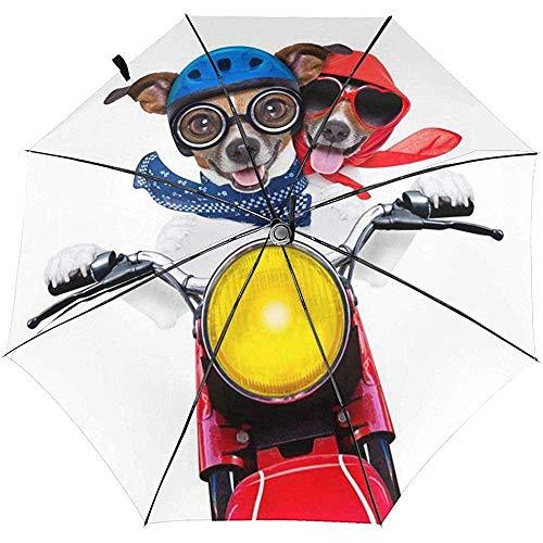 Zwei motorisierte Brillen Hunde Bedruckter winddichter Reiseschirm - winddichtes, verstärktes Verdeck