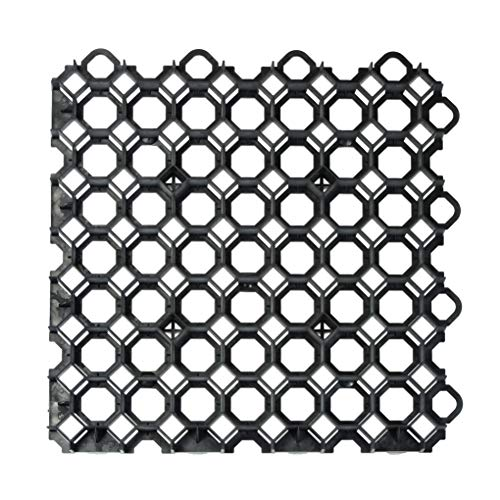 acerto 30375 Rasengitter Kunststoff Platte, 49 x 49 x 4 cm - Befahrbar – bis 400t/m² - Hochwertige Rasengitterplatten, Paddockplatten (Schwarz)