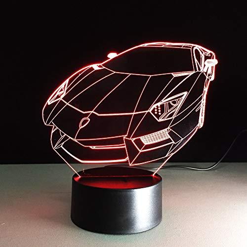 LLZGPZXYD 3D LED Lampe De Table USB Coloré Vision Voiture De Sport Automobile Forme Nouveauté Chevet Coucher De Nuit Veilleuse Enfants Éclairage Décor Cadeaux