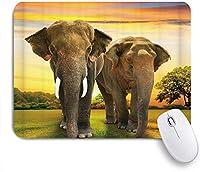 VAMIX マウスパッド 個性的 おしゃれ 柔軟 かわいい ゴム製裏面 ゲーミングマウスパッド PC ノートパソコン オフィス用 デスクマット 滑り止め 耐久性が良い おもしろいパターン (アフリカゾウ草原アートプリント)