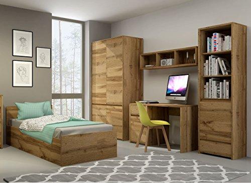 QMM Traum Moebel Jugendzimmer Kinderzimmer komplett Forest Set C Schrank Standregal Kommode Schreibtisch Wandregal Bett 200x90 mit Bettkasten neu