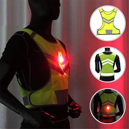COOMOOC Hallo Vis Lauf AdjustableHigh Warnweste LED-Blitz Nacht Radfahren Laufen Fahren Reiten Sicherheitsweste Farbe lichtreflektierende Weste Sport VES (Color : LED dual Lights, Size : A)
