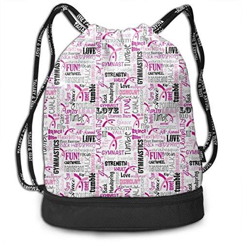 LULABE Gymnastics Drawstring Sack Traveling School Shoulder Backpack Large Capacity Beam Bag, Home Travel Storage Use Gift for Men & Women, Girls Boys