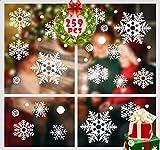 259 PCS Noël Autocollant Fenetre, Noël Stickers Fenetre Flocons de Neige, Amovibles Deco Vitres Noel, Flocons de Neige PVC Autocollants Stickers, Pour Vitrine Fenetre Vitrophanie Porte Noël Deco DIY