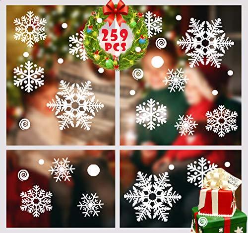 MQIAN 259 pcs Schneeflocken Fenstersticker, Fensterdeko Weihnachten Wand Aufkleber Winter Dekoration für Weihnachts-Fenster Dekoration, Türen,Schaufenster, Vitrinen, Glasfronten