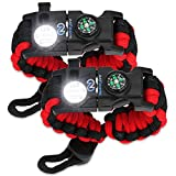 Survival Paracord Bracelet - Tactical Emergency Gear Kit with SOS LED Light, Knife, 550 Grade, Adjustable, Multitools, Fire Starter, Compass, and Whistle - Set of 2 (Red)