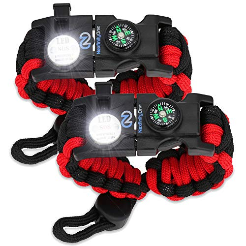 Survival Paracord Bracelet - Tactical Emergency Gear Kit with SOS LED Light, 550 Grade, Adjustable, Multitools, Fire Starter, Compass, and Whistle - Set of 2 (Red)