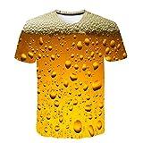 Camisetas 3D Hombre Verano SHOBDW 2019 Nuevo Camisetas Hombre Originales Estampada Cerveza Casual Moda Tops Blusas Hombre Manga Corta Hawaiana M-3XL(Amarillo,XXL)